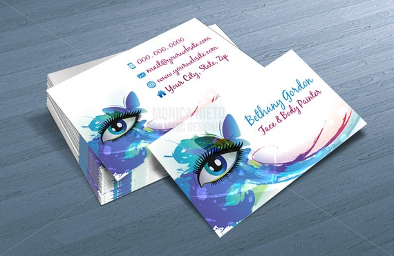 Custom printable face painter business card template makeup etsy image 0 friedricerecipe Image collections