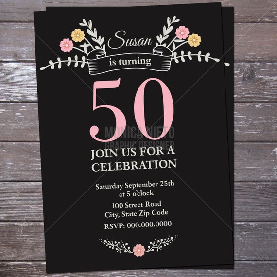 Printable 50th Floral Birthday Invitation 30th 40th 60th 70th 80th 90th Adults