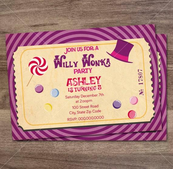 Willy Wonka Birthday Party Invitation Charlie And The Etsy