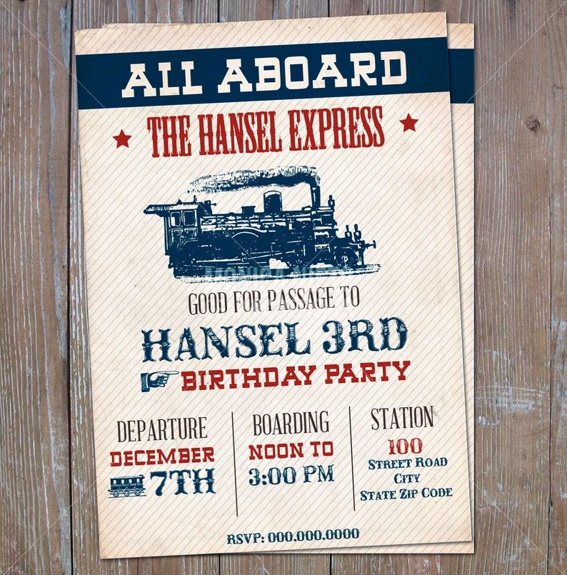 Printable Vintage Steam Train Birthday Invitation Boys