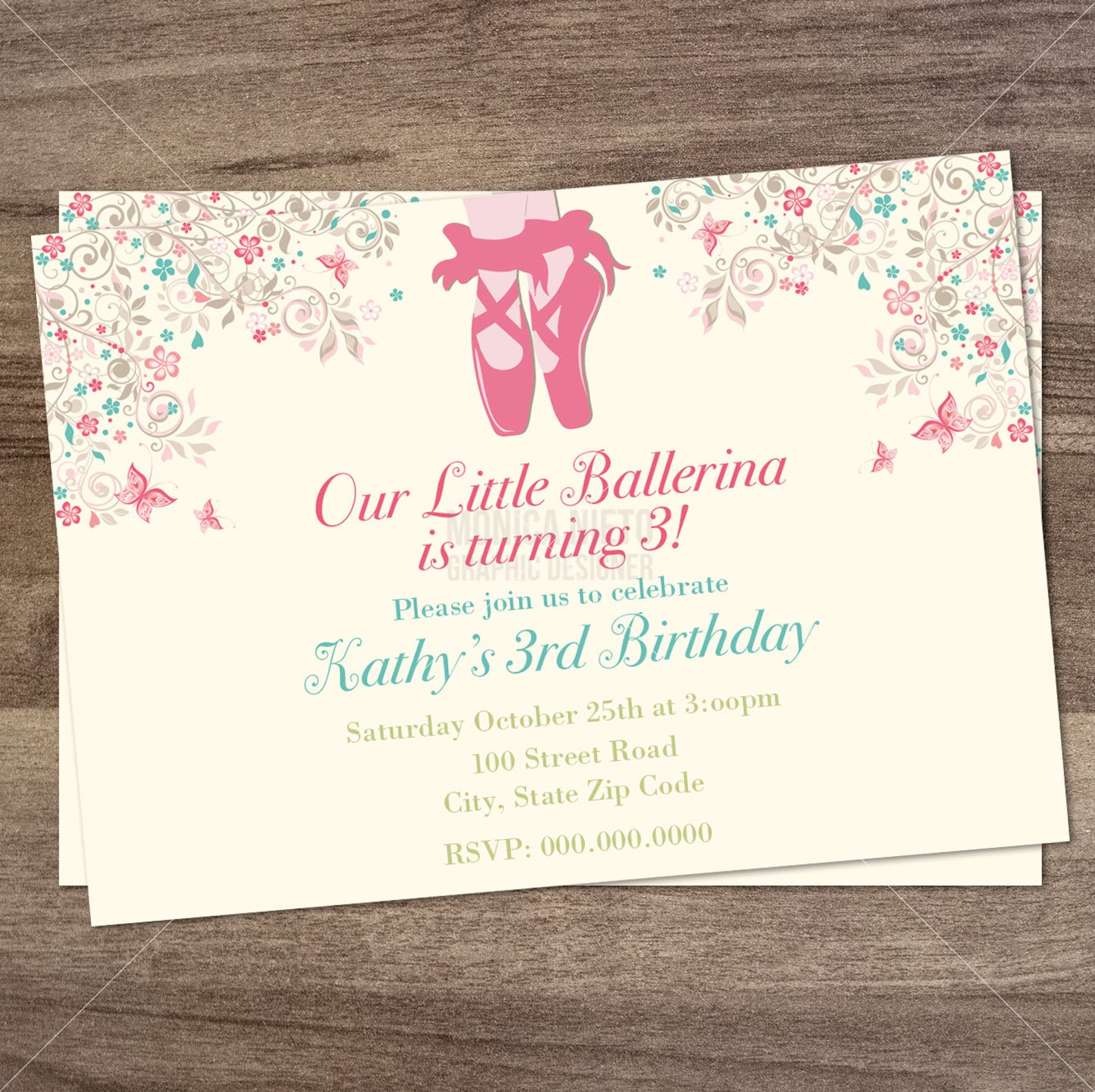 ballerina birthday party invitation/ ballet birthday invite/ little ballerina/ girls invitation