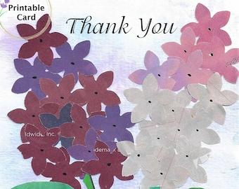 "Lilacs ""Thank You""  Printable  5x7 Greeting Card Digital Download"