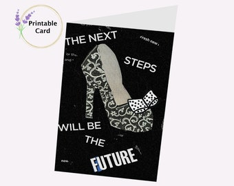 """Retro Shoe """"Next Steps"""" Printable 5x7  Special Occasion Greeting Card--Digital Download"""