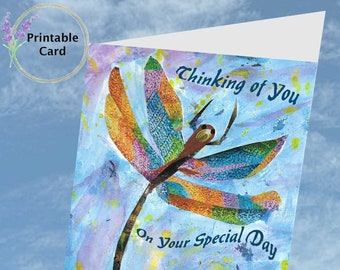 """Dragonfly """"Thinking Of You"""" """"Special Day"""" Printable  5x7 Greeting Card  Digital Download"""