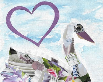 """Printable Handcrafted 5x7 """"With All My Heart"""" Swan Greeting Card--Blank Inside--Digital Download"""