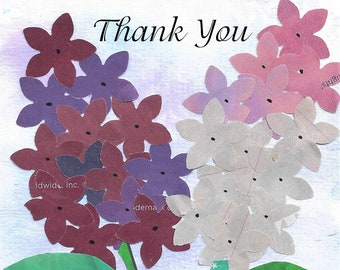 """Printable Handcrafted 5x7 Lilacs  """"Thank You"""" Digital Greeting Card--Blank Inside--Digital Download"""