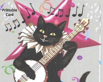 "Black Cat with Banjo Printable ""Happy Birthday""  5x7 Greeting Card  Digital Download"