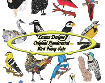 26 Birds, Fussy Cuts, Hand Drawn, Painted, Collaged, Junk Journal Ephemera, Printable, Digital Download