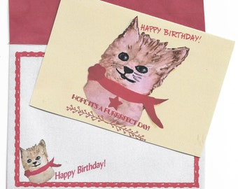 Printable Purrrfect Cat Birthday Card and Envelope-4x5-3/4 Card Blank Inside-A6 Envelope-Digital Downloads