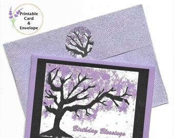 "Cherry Tree ""Birthday Blessings"" Printable Card and Custom Envelope-4x5-3/4 Card-A6 Envelope--Digital Download"