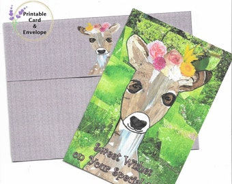 Sweet Fawn Baby Deer Printable Special Day Card and Envelope-4x6 Card-A6 Custom Envelope-Digital Download