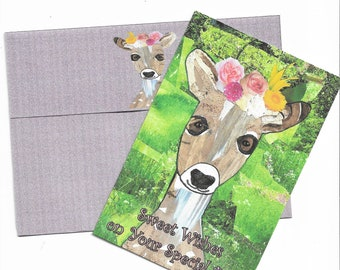 """Printable Handcrafted """"Sweet Fawn"""" Special Day Card and Envelope-4x6 Card Blank Inside-A6 Custom Envelope-Digital Downloads"""