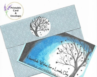 """Tree of Hearts """"Heartfelt Wishes"""" Printable Card and Custom Envelope-4x5-3/4 Card-A6 Envelope-Digital Download"""