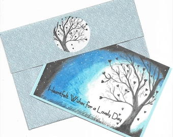 Printable Handcrafted Heartfelt Wishes Tree of Hearts Card and Custom Envelope-4x5-3/4 Card-Blank Inside-A6 Envelope-Digital Download