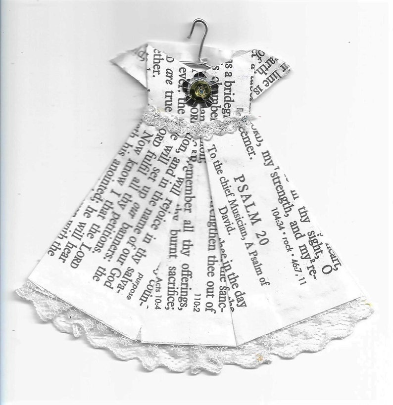 Handmade Origami Psalm 20 Dress Ornament image 0