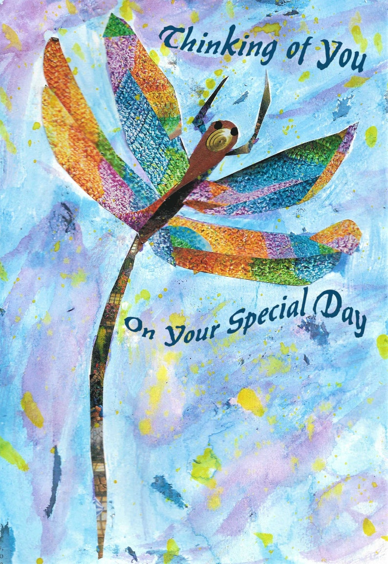 Printable Handcrafted 5x7 Dragonfly Special Day image 0