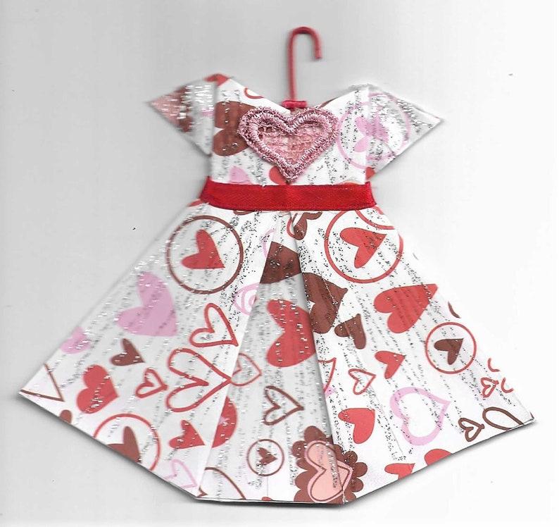 Handmade Hearts Origami Dress Ornament image 0