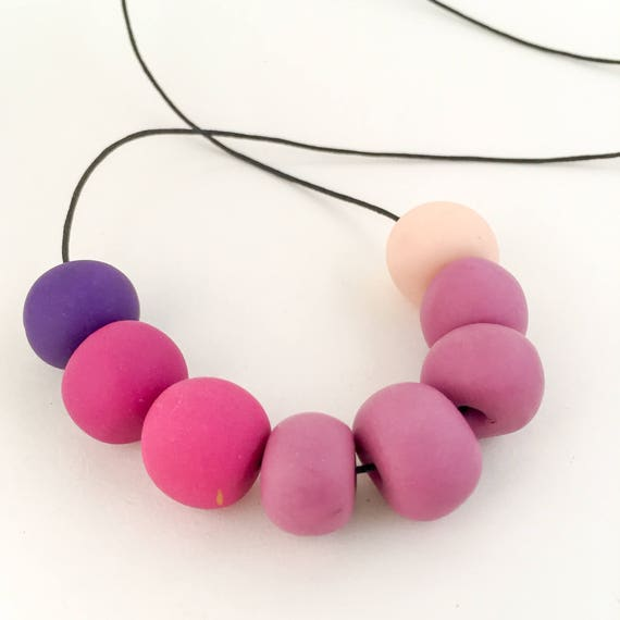 polymer clay necklace PLUM PUDDING