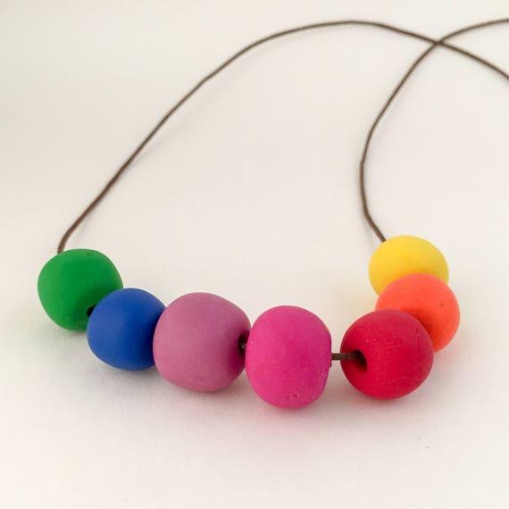 polymer clay necklace KINDERGARTEN