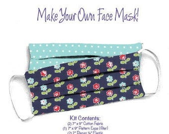 Face Mask Kit - Do It Yourself - Cotton Fabric - Elastic - Filter - Reusable - Reversible - Washable - VPFlowers