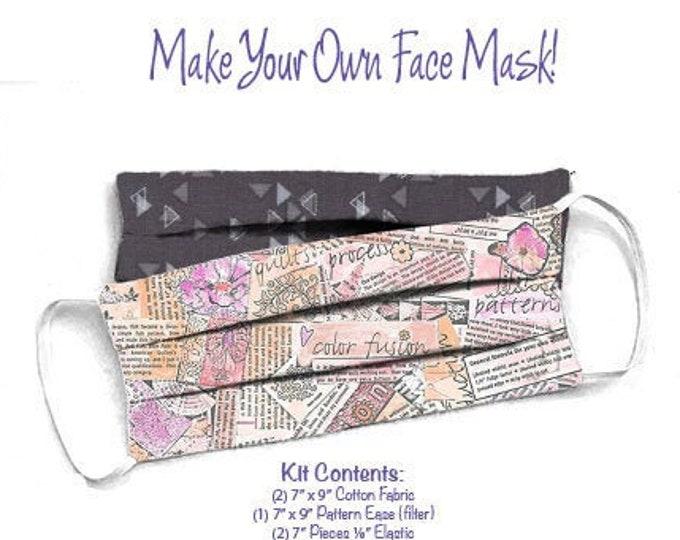 Face Mask Kit - Do It Yourself - Cotton Fabric - Elastic - Filter - Reusable - Reversible - Washable - Color Fusion - Spectrum