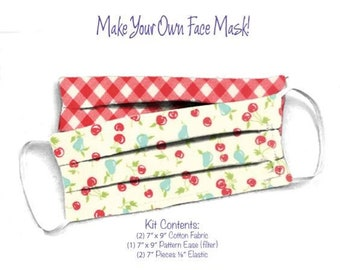 Face Mask Kit - Do It Yourself - Cotton Fabric - Elastic - Filter - Reusable - Reversible - Washable - VPCherries