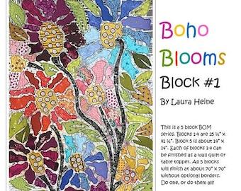 Boho Blooms Block 1 Quilt Pattern - Laura Heine - Fiberworks - LHFWBOHO1