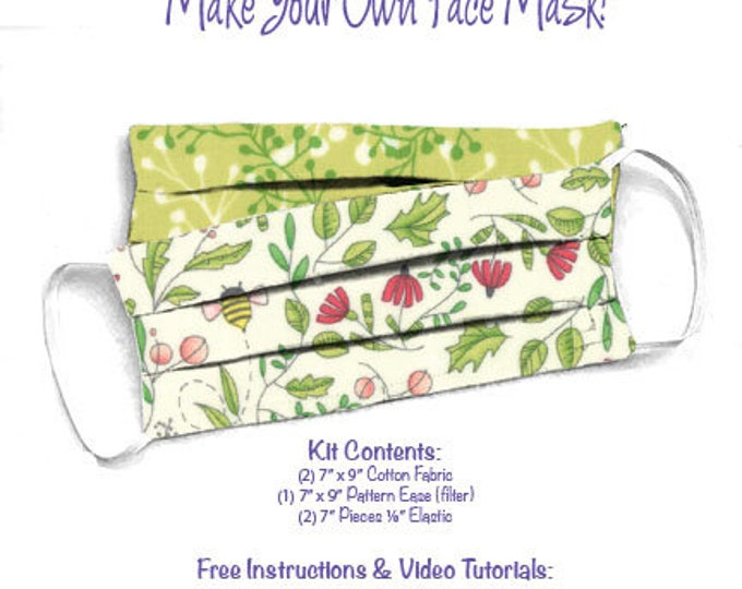 Face Mask Kit - Do It Yourself - Cotton Fabric - Elastic - Filter - Reusable - Reversible - Washable - Painted Meadow White Bee Green Sprig