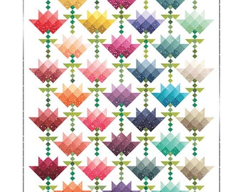 Ombre Flower Bouquet Quilt Pattern - Moda - V and Co - Vanessa Christenson - VC 1263 - Ombre Bloom