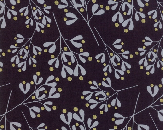 1/2 Yard - White Christmas Metallic - Black - Zen Chic - Moda - Fabric Yardage - 1656 15M