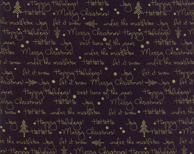 1/2 Yard - White Christmas Metallic - Black - Zen Chic - Moda - Fabric Yardage - 1652 23M