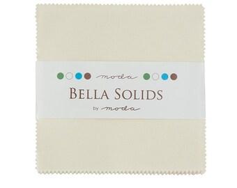 "Bella Solids - Moda Classic - Ivory - Moda Fabrics - 42 Pieces - 5"" Squares - Charm Pack - 9900PP 60"