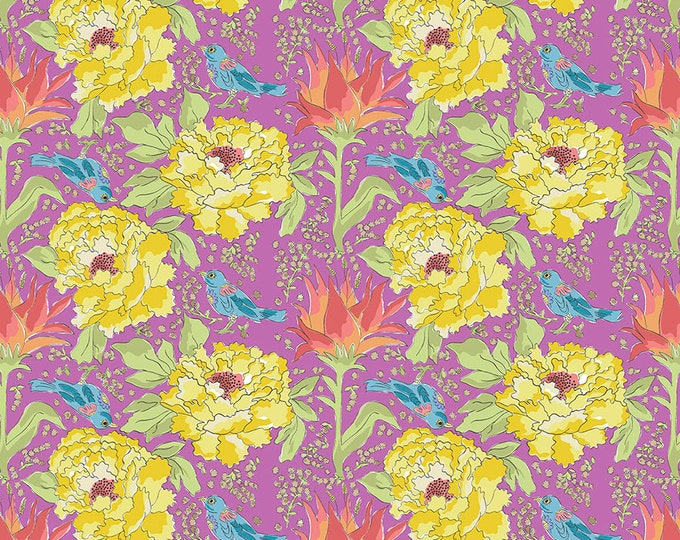 SALE!! 1/2 Yard - Color Fusion - Bird of Paradise - Violet - Laura Heine - Freespirit - Fabric Yardage - PWLH016.VIOLET