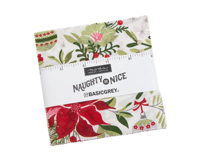 """Naughty or Nice - BasicGrey - 42 Pieces - 5"""" Squares - Charm Pack - Moda - 30630PP"""