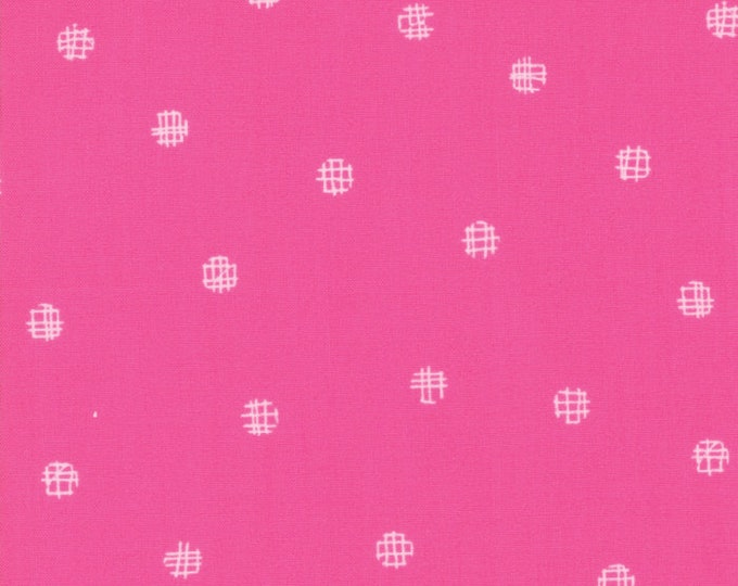 1/2 Yard - Just Red - Cross My Dots - Hot Pink - Zen Chic - Brigitte Heitland - Moda - Fabric Yardage - 1704 23
