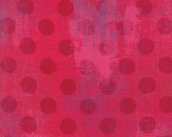 SALE!! 1/2 Yard - Grunge Hits the Spot - Raspberry - BasicGrey - Moda - Fabric Yardage - 30149 23