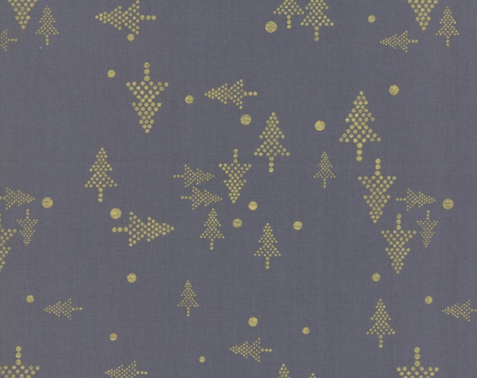1/2 Yard - White Christmas Metallic - Graphite - Zen Chic - Moda - Fabric Yardage - 1651 22M