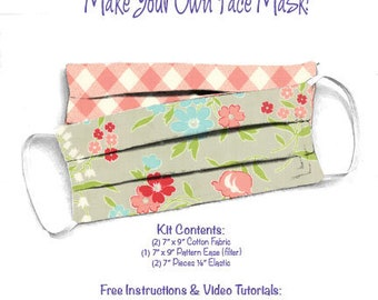 Face Mask Kit - Do It Yourself - Cotton Fabric - Elastic - Filter - Reusable - Reversible - Washable - VP Flowers Pink Check