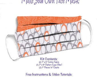 Face Mask Kit - Do It Yourself - Cotton Fabric - Elastic - Filter - Reusable - Reversible - Washable - Zen Chic Flow For You