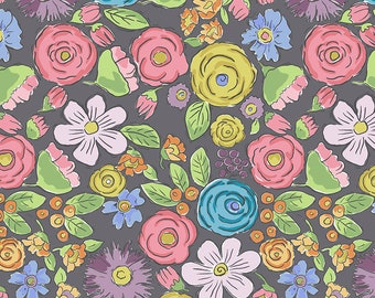 SALE!! 1/2 Yard - Color Fusion - Bouquet - Charcoal - Laura Heine - Freespirit - Fabric Yardage - PWLH020.CHARCOAL
