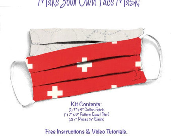 Face Mask Kit - Do It Yourself - Cotton Fabric - Elastic - Filter - Reusable - Reversible - Washable - Just Red White Pluses