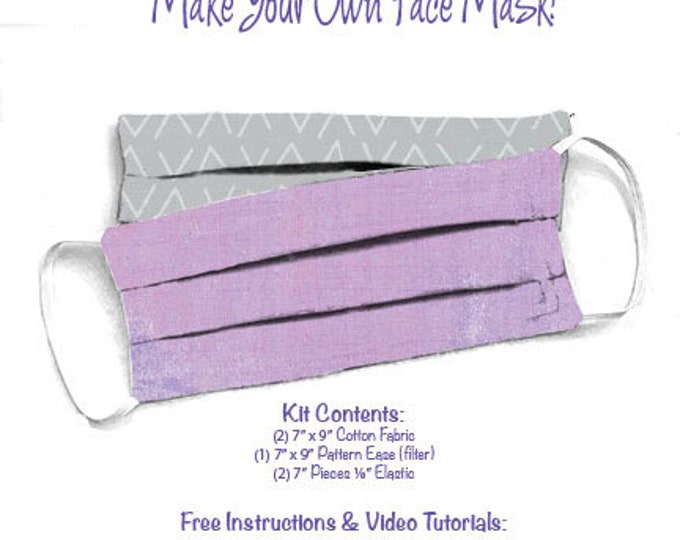 Face Mask Kit - Do It Yourself - Cotton Fabric - Elastic - Filter - Reusable - Reversible - Washable - Grunge Lupine