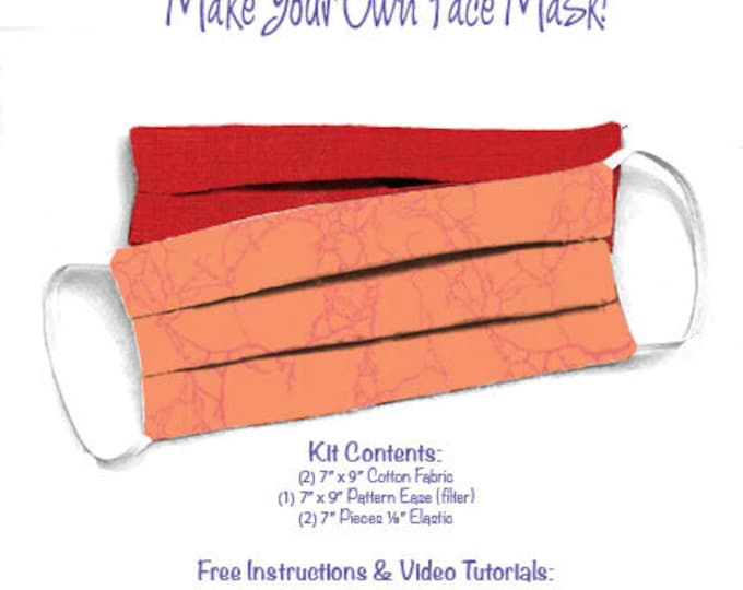 Face Mask Kit - Do It Yourself - Cotton Fabric - Elastic - Filter - Reusable - Reversible - Washable - Grunge Stone Cold Critters