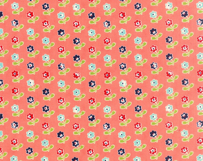 SALE!! 1/2 Yard - Vintage Picnic - Bonnie and Camille - Coral - Moda - Fabric Yardage - 55121-13