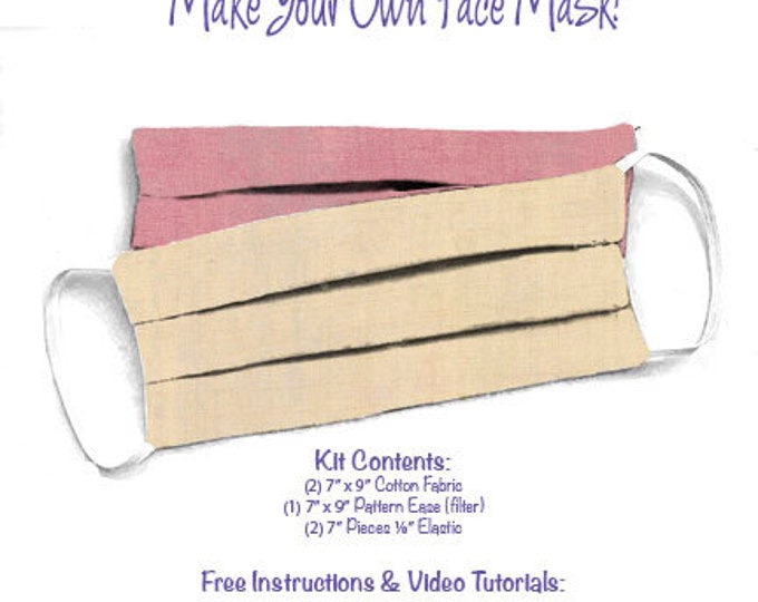 Face Mask Kit - Do It Yourself - Cotton Fabric - Elastic - Filter - Reusable - Reversible - Washable - Grunge Bellini Sweetheart