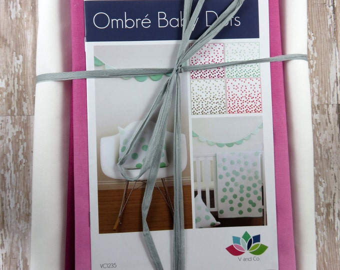 Ombre Baby Dots - Magenta - Baby Quilt Pillow Banner Pattern Fabric Kit  - Moda - V and Co - Vanessa Christenson 10800 201