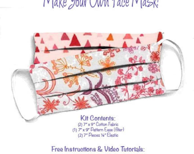 Face Mask Kit - Do It Yourself - Cotton Fabric - Elastic - Filter - Reusable - Reversible - Washable - In the Bloom Blossom Pink Triangle