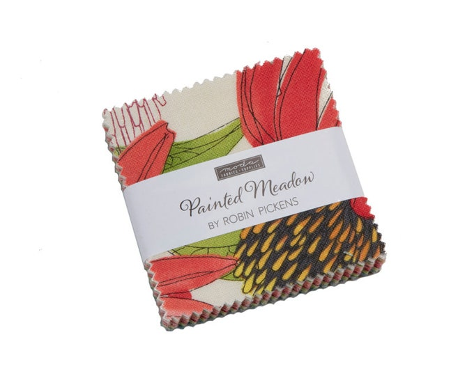 Painted Meadow - Robin Pickens - Moda - 42 Pieces - Mini Charm Pack - 48660MC