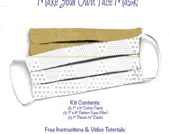 Face Mask Kit - Do It Yourself - Cotton Fabric - Elastic - Filter - Reusable - Reversible - Washable - Day in Paris Grunge Ginger Ale