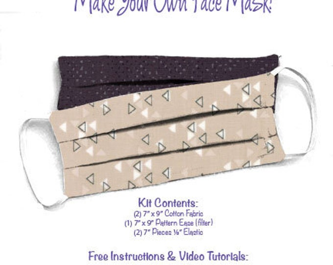 Face Mask Kit - Do It Yourself - Cotton Fabric - Elastic - Filter - Reusable - Reversible - Washable - Spectrum Spotted